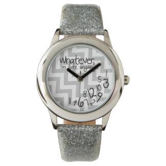 Whatever, I'm late anyways - gray & white chevron Wrist Watches