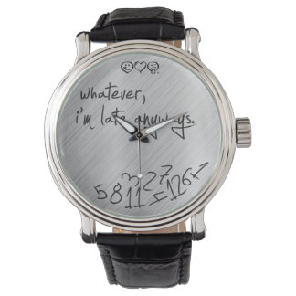 whatever I'm late anyways - modern black on silver Wrist Watch