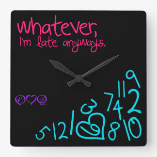 whatever, i'm late anyways - pink, purple and aqua square wall clock