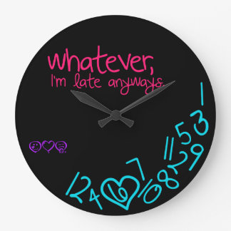 whatever, i'm late anyways - pink, purple and aqua wall clock