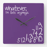 whatever, I'm late anyways - purple rose Square Wall Clock