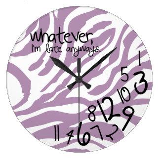 whatever, I'm late anyways - purple zebra stripes Wall Clock