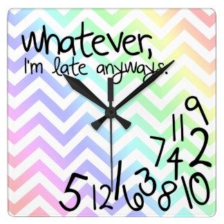 whatever, i'm late anyways - rainbow chevron square wall clock