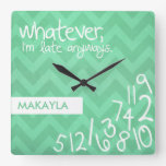 whatever, I'm late anyways - rustic mint chevron Square Wallclock