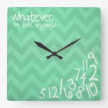 whatever, I'm late anyways - rustic mint chevron Wallclocks