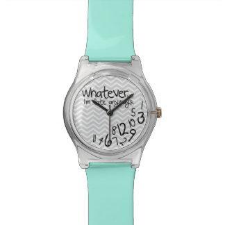 Whatever, I'm late anyways - Teal Blue and Gray Wrist Watch