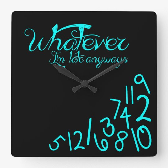 whatever - mint blue on black square wall clock
