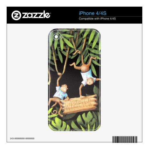 """""""Whatever"""" Monkeys Decals For iPhone 4S"""