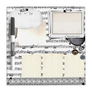 Whatever The Plan French Black White Music Board Dry-Erase Whiteboard