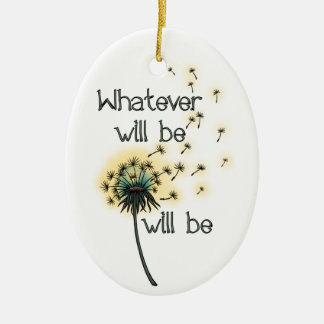 Whatever Will Be Double-Sided Oval Ceramic Christmas Ornament