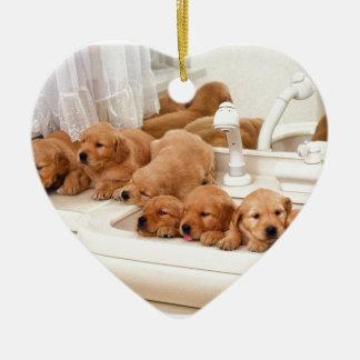 What's A Bath? Cute Puppies Discover BathTime Ceramic Ornament