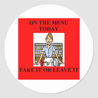 whats for dinner, mom? classic round sticker