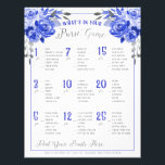 """Whats In Your Purse Bridal Shower Game Blue Silver Flyer<br><div class=""""desc"""">Royal blue and faux silver accents.   Don&#39;t want to print your own bridal shower games,  Use these flyers instead.  Order quantity as needed; Bridal Shower Game  &quot;What&#39;s in your purse&quot;</div>"""