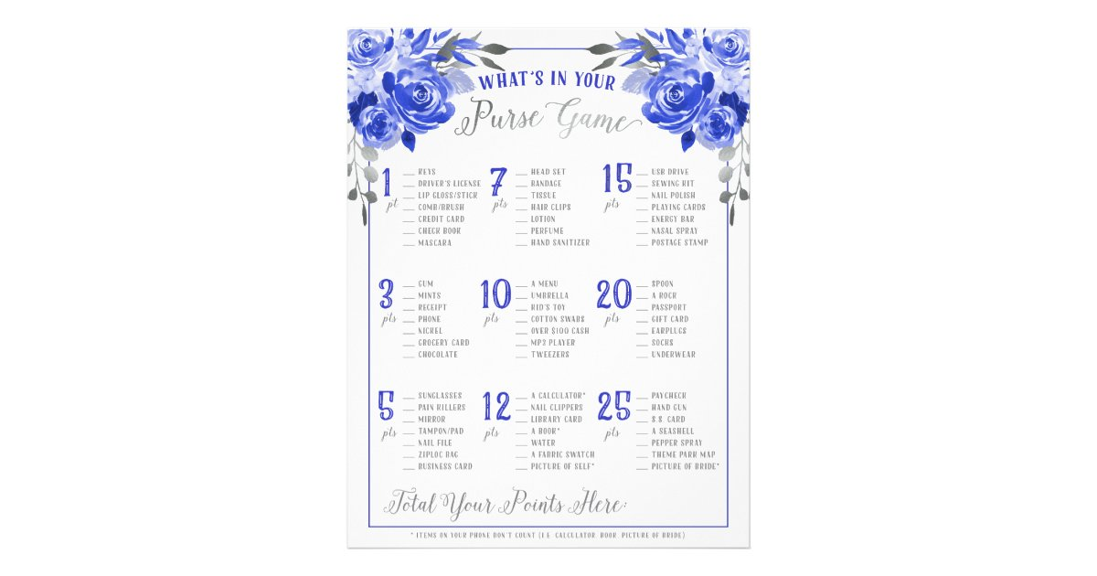 whats in your purse bridal shower game blue silver flyer zazzlecom