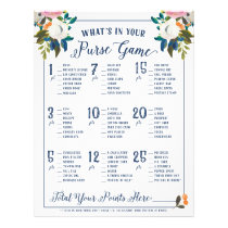What's In Your Purse Bridal Shower Games Floral Flyer