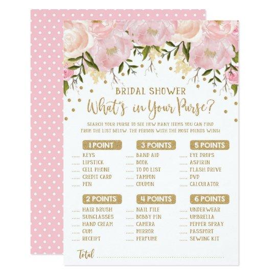 What S In Your Purse Flower Bridal Shower Game Invitation