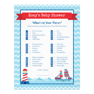 What's In Your Purse Nautical Theme Baby Shower Letterhead