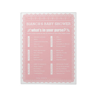 What's In Your Purse Pink Papel Picado Baby Shower Notepad