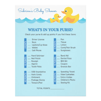 What's In Your Purse Rubber Duck Baby Shower Game Letterhead