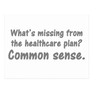 What's missing from the healthcare plan? postcard