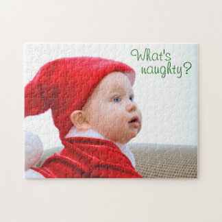 What's Naughty? Cute Santa Baby Photo Puzzle