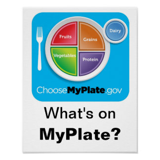 What's on MyPlate? Poster - Blue on White