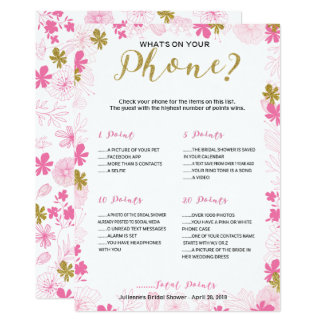 What's on Your Phone Bridal Shower Game Card