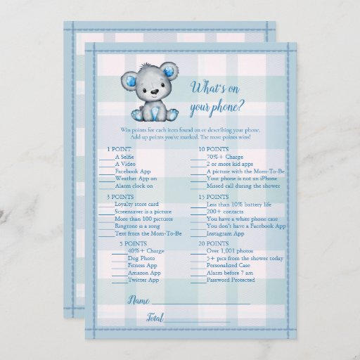 Whats On Your Phone Cute Gray Bear Boy Shower Game Invitation