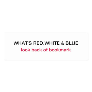 What's Red, White & Blue USA Flag Bookmark Mini Business Card