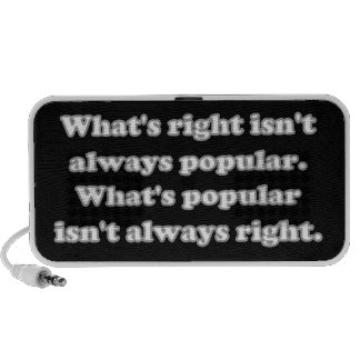Whats right isn't always popular speaker system