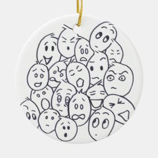 What's so Funny? Cartoon faces Ceramic Ornament