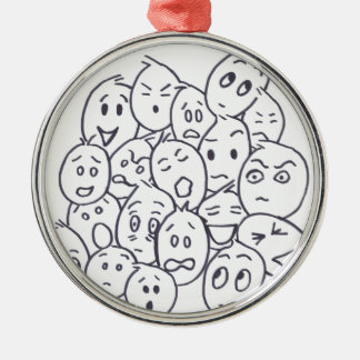 What's so Funny? Cartoon faces Metal Ornament