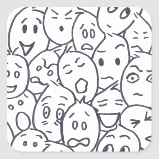 What's so Funny? Cartoon faces Square Sticker