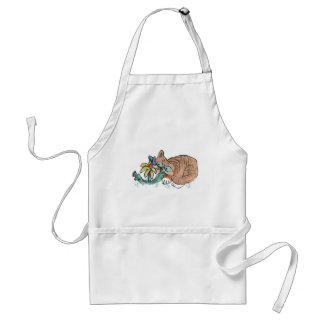 What's this? Tiger Kitten, butterfly on flower Adult Apron