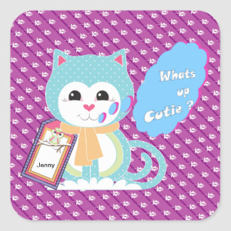 What's up cutie square sticker
