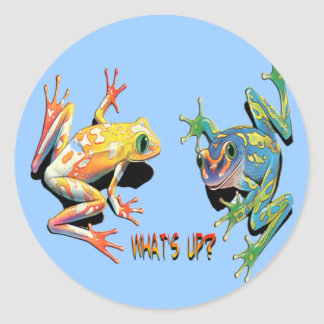 What's Up Frogs Classic Round Sticker