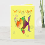 "What&#39;s Up Thinking of You Funny Fish and Bubbles Card<br><div class=""desc"">What&#39;s Up Colorful Fish and Bubbles Greeting Card. Funny multi color fish blowing pink bubbles,  with more transparent bubbles in the background. What&#39;s Up? on a yellow card. Add your own greeting inside,  or delete inside wording and leave blank.</div>"