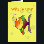 """What&#39;s Up Thinking of You Funny Fish and Bubbles Card<br><div class=""""desc"""">What&#39;s Up Colorful Fish and Bubbles Greeting Card. Funny multi color fish blowing pink bubbles,  with more transparent bubbles in the background. What&#39;s Up? on a yellow card. Add your own greeting inside,  or delete inside wording and leave blank.</div>"""