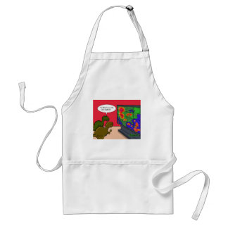 What's up with this weather dinosaur cartoon adult apron