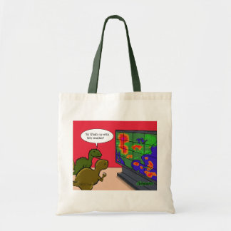 What's up with this weather dinosaur cartoon tote bag