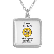 What's Your Excuse...Crohn's Silver Plated Necklace
