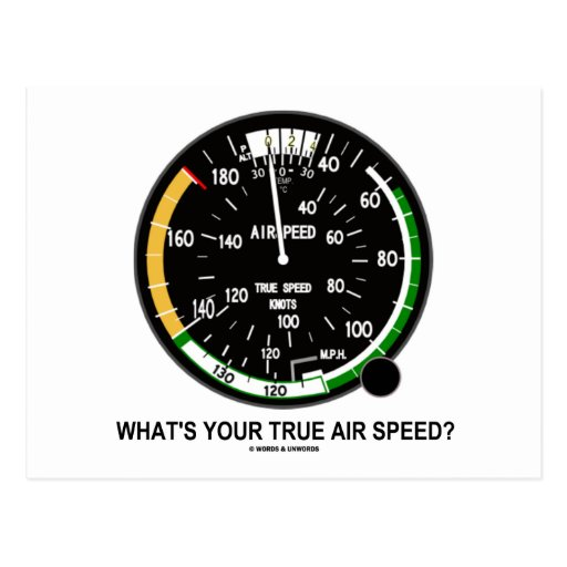 What's Your True Air Speed? Air Speed Indicator Postcard