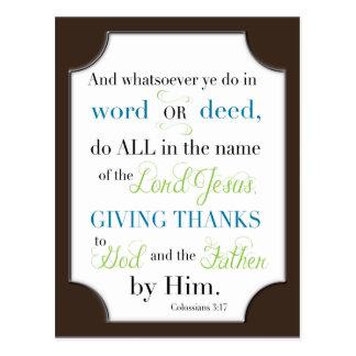 Whatsoever Ye Do - Bible Scripture Postcard