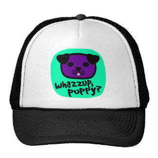 Whazzup, Puppy? With Cute Puppy Face Mesh Hat