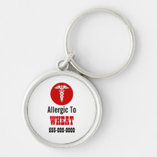 Wheat allergies personalize red | Caduceus Silver-Colored Round Keychain