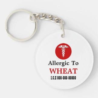Wheat allergy round medic alert keychain