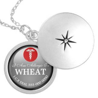 Wheat allergy silver cover   Girls Personalize Round Locket Necklace