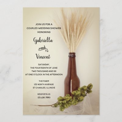 Wheat and Hops Brewery Couples Wedding Shower Invitation