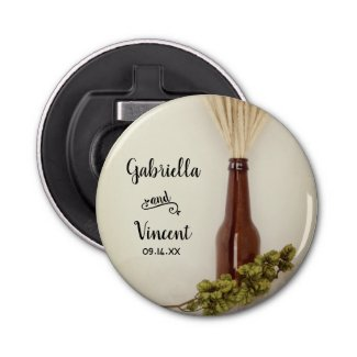 Wheat and Hops Brewery Wedding Favor Bottle Opener