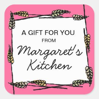 Wheat baking bakery vegan cooking gift tag sticker
